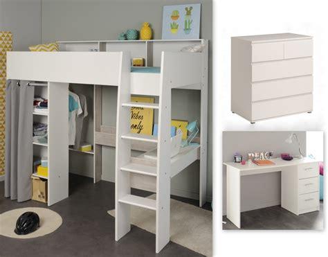 lit mezzanine 120 cm lit mezzanine avec bureau et commode 16 blanc
