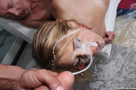 kimberly kiss' face is all covered with sperm after she and her friend worshipped on hard dick