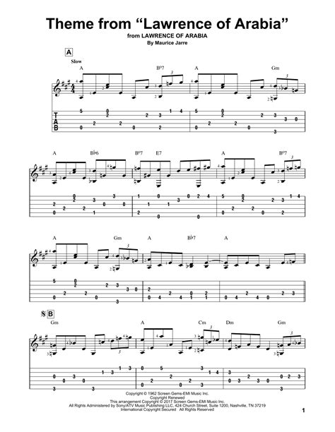 theme music lawrence of arabia theme from quot lawrence of arabia quot guitar tab by maurice