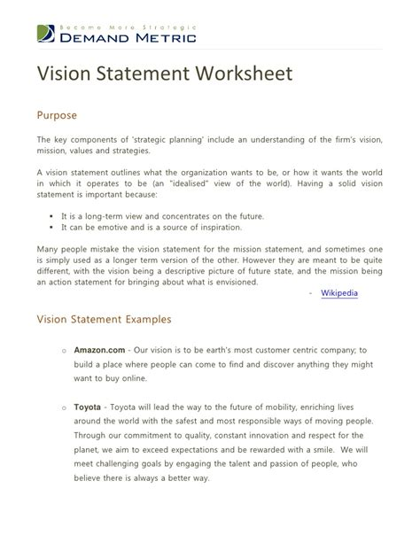 template of vision statement vision statement worksheet