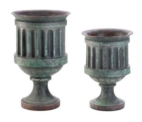 pedestal urn planter vase weathered copper finish 2