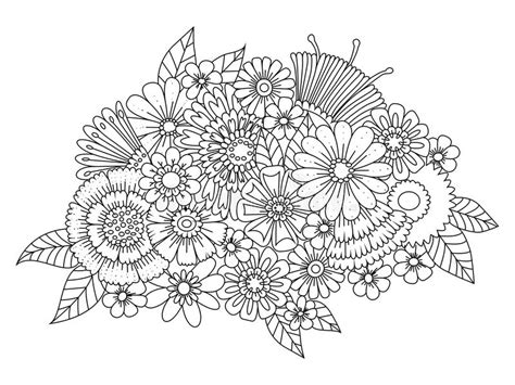 pattern play zentangle book flowers ornament coloring book for adults vector stock