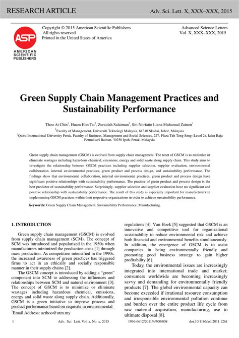 green supply chain management research paper green supply chain management practices pdf