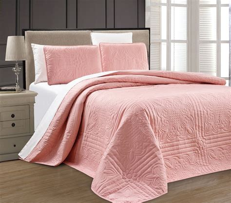 double bed coverlet new twin xl full queen cal king size bed pink 3 pc
