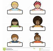 Kids Holding Name Tags Stock Image  14357191