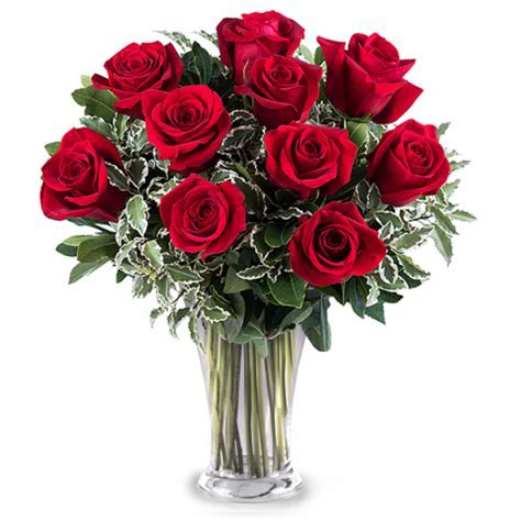 10 Red Roses, Vase and Card Pack   Valentine?s Flowers