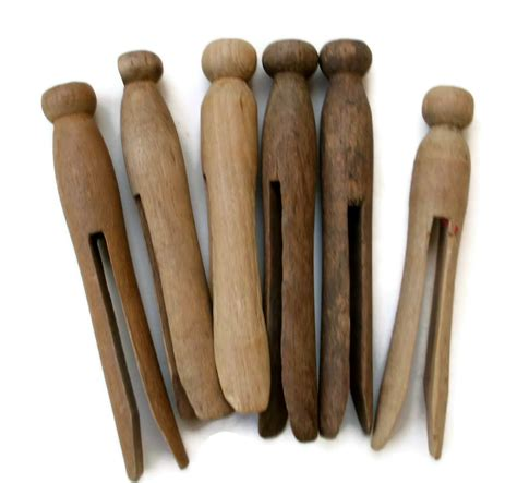 vintage weathered wood clothespins set of 6