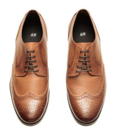 caramel brown brogues in with open lacing canvas lining rubber soles h m s classics