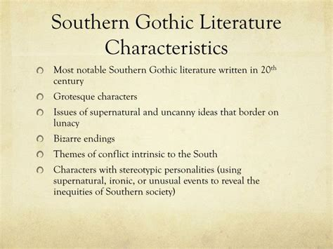 themes in gothic literature ppt southern gothic literature powerpoint presentation
