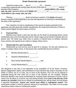 membership agreement template membership agreement the association of fitness studios