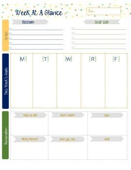 week at a glance lesson plan template s week at a glance template by merritt tpt