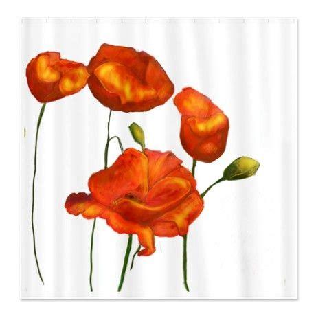 orange poppy curtains poppies orange shower curtain orange shower curtains