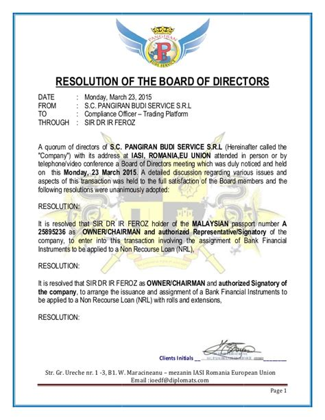 resolution template for board of directors resolution of the board of directors