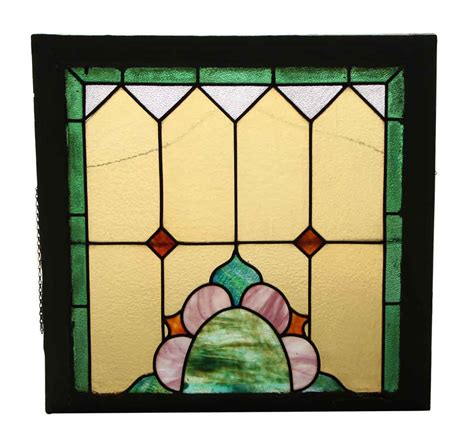 stained glass window with wood frame olde things