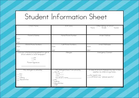 parent information card template student information sheet