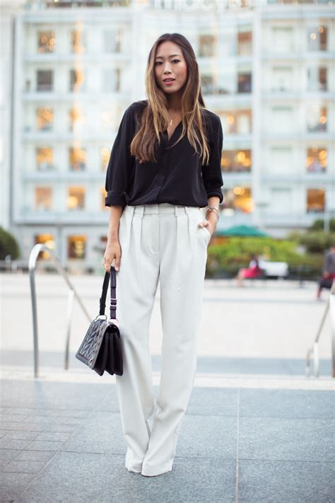 pant leg style one pant 3 looks how to wear the white wide leg trouser
