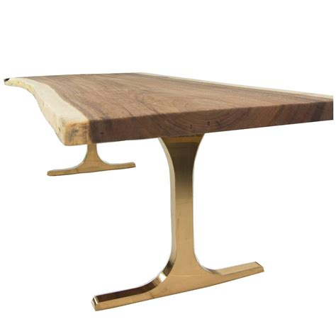 slab dining table eco slab dining table with copper t legs for sale at 1stdibs