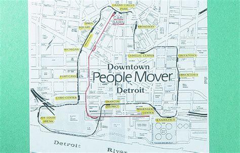 detroit people mover map detroit people mover trolley map april 1993