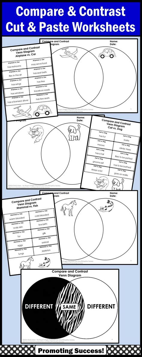 Compare And Contrast Worksheets by Compare And Contrast Graphic Organizer Venn Diagram