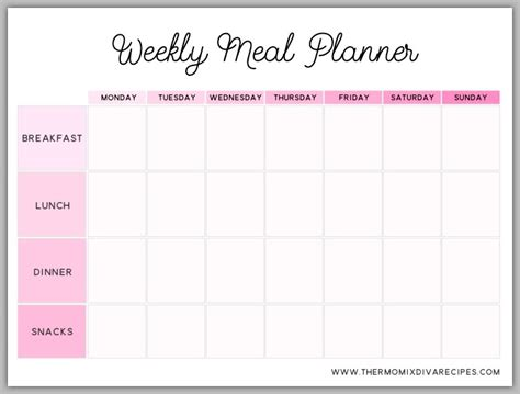 printable meal planner with snacks weekly meal planner help organise your life with this