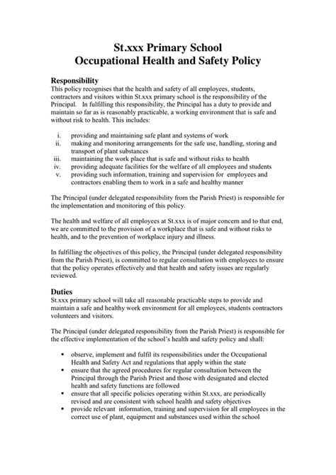 work health and safety policy templates occupational health and safety policy template in word