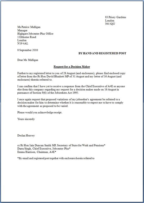 Letter Of Intent Sle For Church Network For Church Monitoring N4cm Letter To The Of State For Work And Pensions