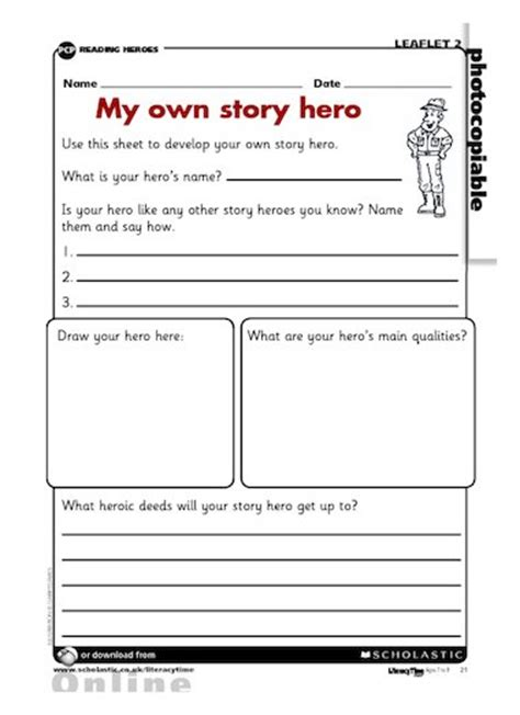 My own story hero ? story planning ? Primary KS2 teaching