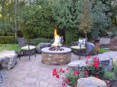 Fire pit patios, back yard affordable landscaping ideas