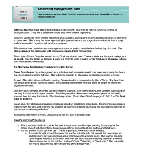 Sle Classroom Management Plan Template 9 Free Documents In Pdf Word Plan Template For Managers