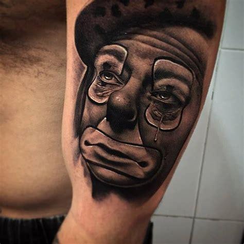 crying tattoo green skull on right by pxa