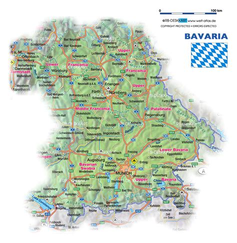 bavaria germany map map of bavaria germany map in the atlas of the world