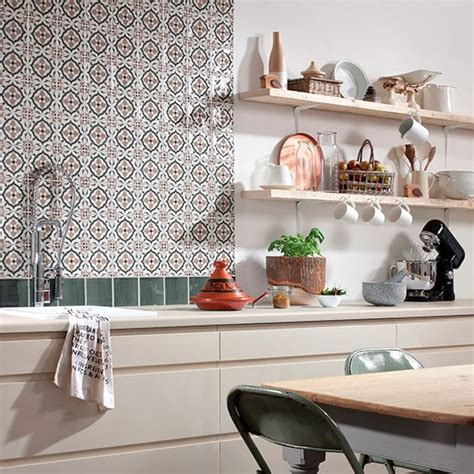 tangier decorative tile splashback from topps tiles