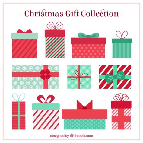 christmas gifts collection vector free download