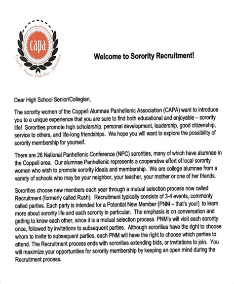 Letter Of Recommendation Or Letter Of Support Sorority sorority interest letter template for real