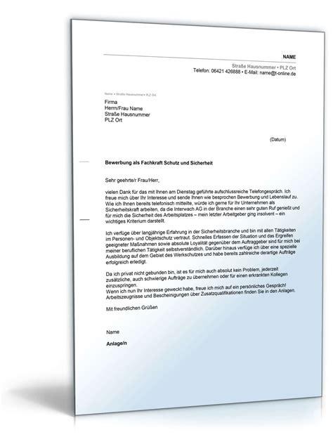 Angebot Sicherheitsdienst Vorlage anschreiben bewerbung sicherheitsdienst muster zum