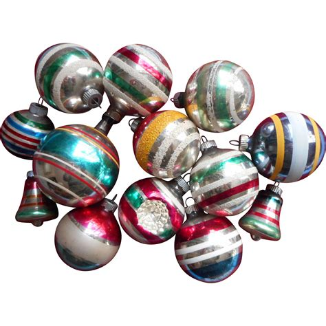 vintage striped glass christmas tree ornaments 13 shiny
