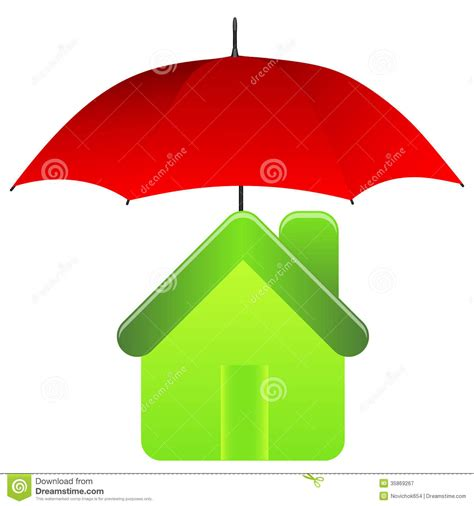 the insurance house green house under red umbrella insurance concept royalty free stock photography
