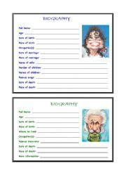 Student Biography Card Template teaching worksheets biographies