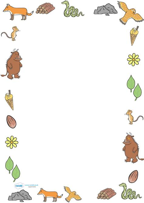 twinkl resources the gruffalo full page borders thousands