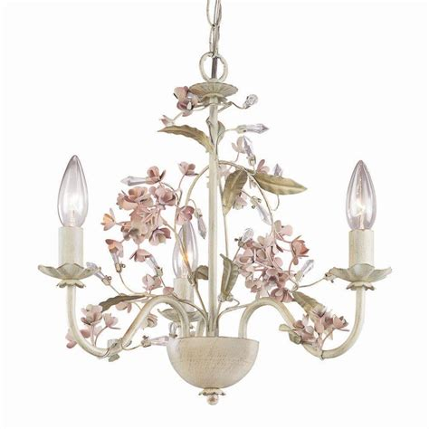 Laura Ashley Blossom 3 Light Antique Ivory Mini Chandelier Blossom Chandelier