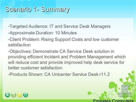 Help Desk Scenarios by Ca Service Desk Demo Scenarios