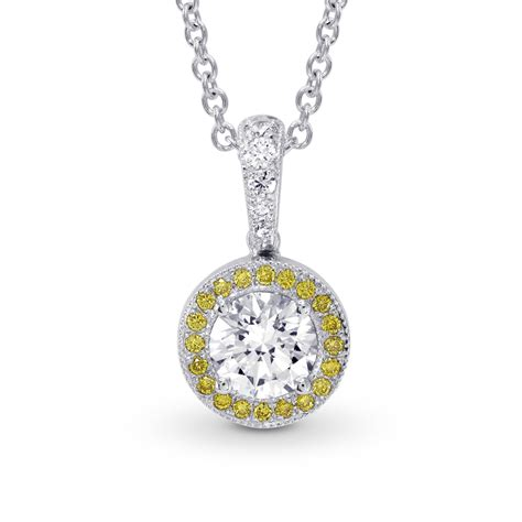 0 68cts colorless halo pendant necklace set in 18k