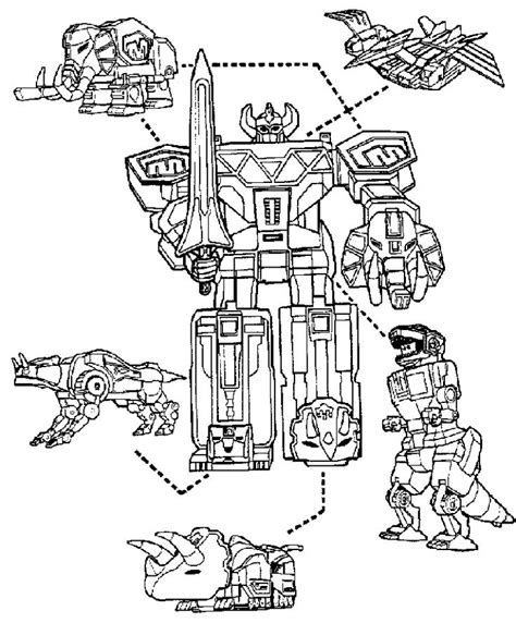 power rangers turbo coloring pages power rangers megazord and dinosaurs coloring page for