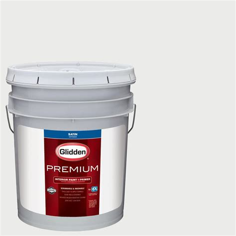 glidden premium 5 gal nhl 027b ta bay lightning white satin interior paint with primer