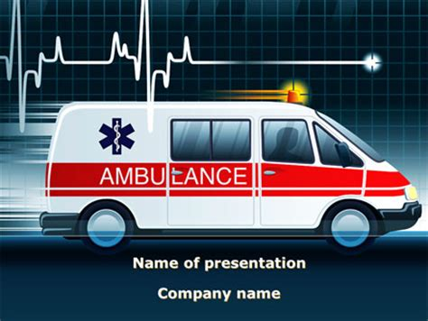 racing ambulance powerpoint template backgrounds 10175