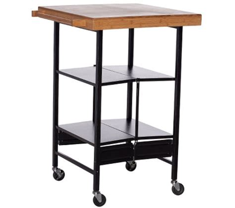 Foldable Kitchen Cart by Temp Tations Floral Lace Bamboo Top Folding Kitchen Cart