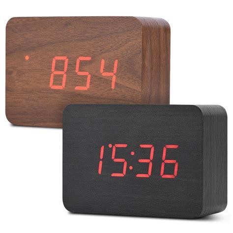 wooden electronic digital alarm clock temperature led display sounds brown black