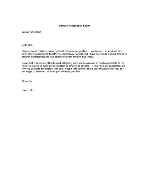 Resignation Letter Format Two Weeks Notice 4 resignation letter sle 2 weeks notice expense report