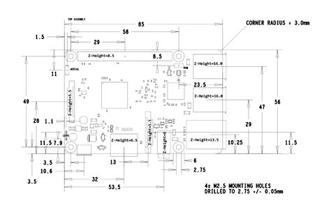 B Drawing Size by Raspberry Pi Mechanical Drawings Dimensions Raspberry