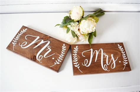 mr mrs sign for wedding table mr and mrs chair signs wedding chair sign mr and mrs